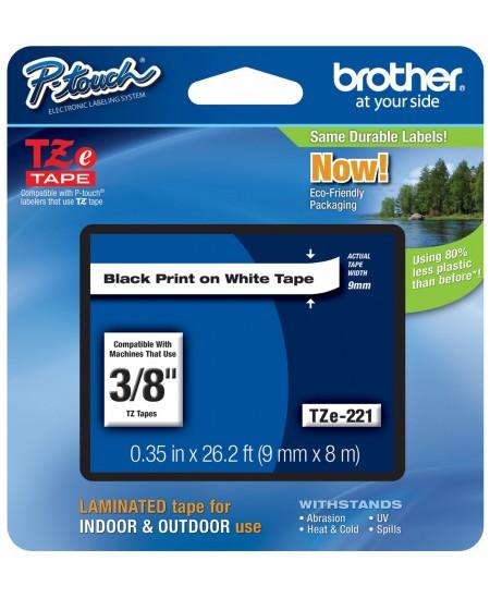 Juostelė Brother TZe-221 | 9mm*8m | balta juostelė | juodas tekstas