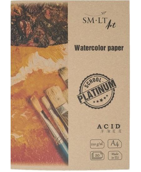 Akvarelinis popierius aplanke SM-LT Platinum, A4, 220 g/m2, 20 lapų