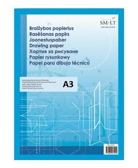 Popierius braižybai SM-LT, A3, 160 g/m2, 20 lapų