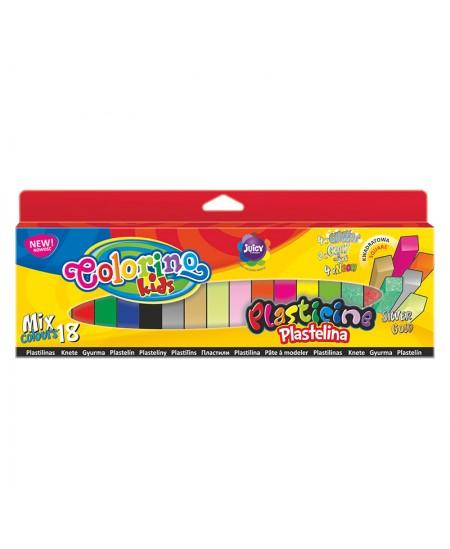 Plastilinas Colorino Kids, kvadratinės formos, 18 mix spalvų (auksinė, sidabrinė, šviečianti tamsoje