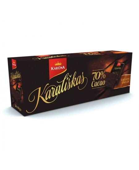 Šokoladiniai saldainiai KARŪNA, Karališkas, juodas, 70%, 24 x 10 g (240 g)