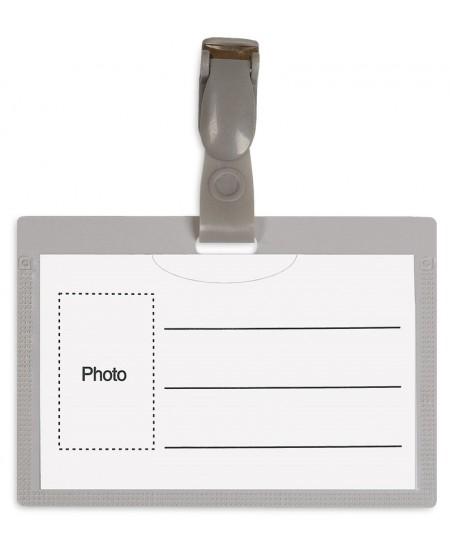 Vardinė kortelė su plastikiniu spaustuku, 54x90mm, pilkos sp.