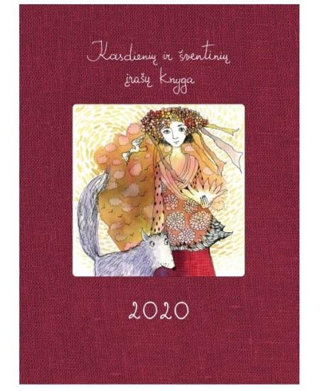 Kasdienių ir šventinių įrašų knyga 2020, 14 x 18.7 cm, 136 psl., vyšninė