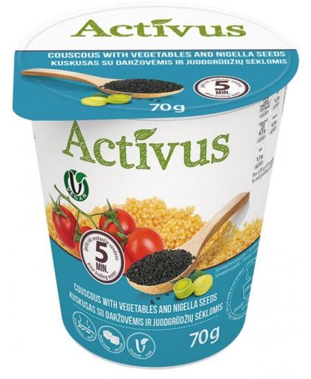 Kuskuso košė ACTIVUS su daržovėmis ir juodagrūdžių sėklomis, 70 g