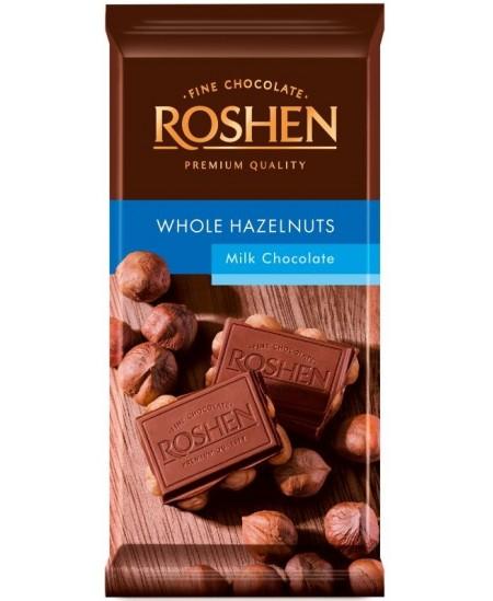 Pieninis šokoladas ROSHEN su lazdyno riešutais, 90 g