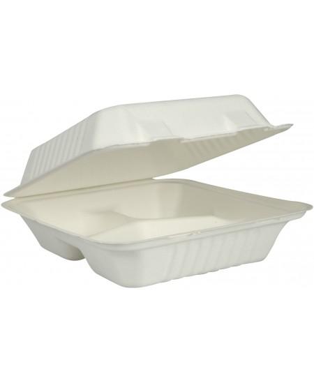 Ekologiškos, vienkartinės cukranendrių biodėžutės maistui išsinešti, 3 skyrių, su dangteliu. 22,3x20,1x7,5 cm, 50 vt