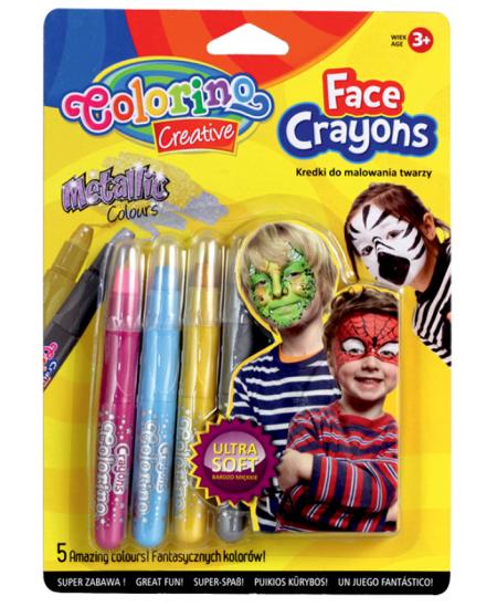 Kreidelės veidui dažyti COLORINO, 5 blizgios spalvos