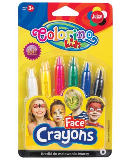 Kreidelės veidui dažyti COLORINO, 6 spalvos