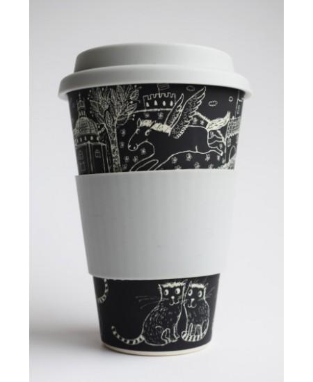 """Bambuko pluošto puodelis išsinešti, 450 ml """"VILNIUS"""", juodas"""