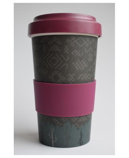 """Bambuko pluošto puodelis išsinešti, 580 ml """"Alyvų spalvos"""""""