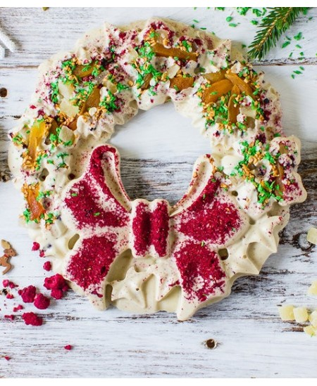 Rankų darbo šokoladinis Kalėdų vainikas Baltosios Kalėdos, baltasis šokoladas, 500 g