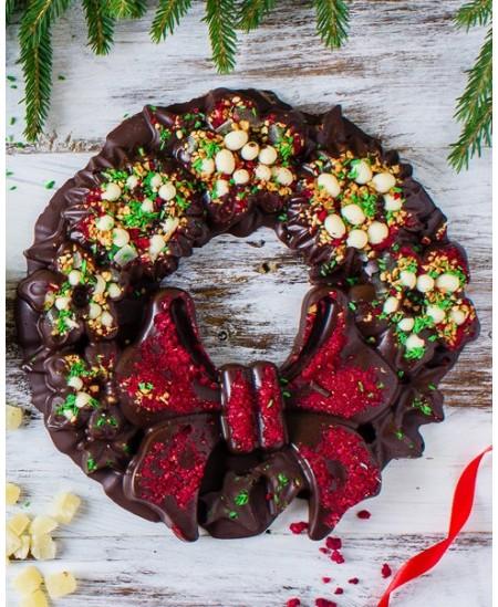 Rankų darbo šokoladinis Kalėdų vainikas Gurmaniškos Kalėdos, juodasis šokoladas, 500 g