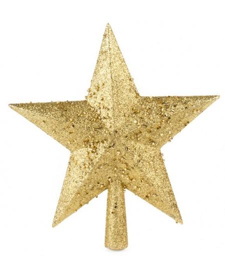 Eglutės viršūnė Žvaigždė SYCD17, 23 cm, aukso sp.