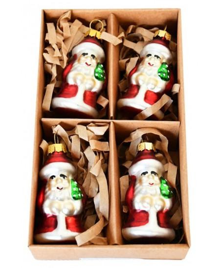 Eglutės žaisliukai Kalėdų Seneliai, 4 vnt.