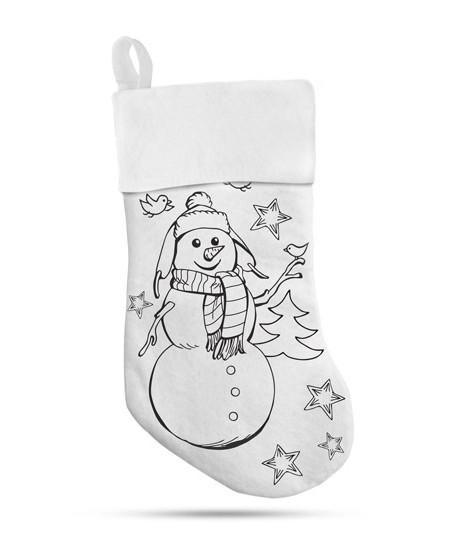 """Kalėdinė dekoratyvinė kojinė """"Sniego senis"""" su 5 flomasteriais"""