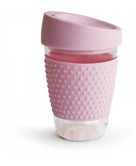"""Puodelis išsinešti SAGAFORM """"Glass mug"""", 300 ml, rožinis"""