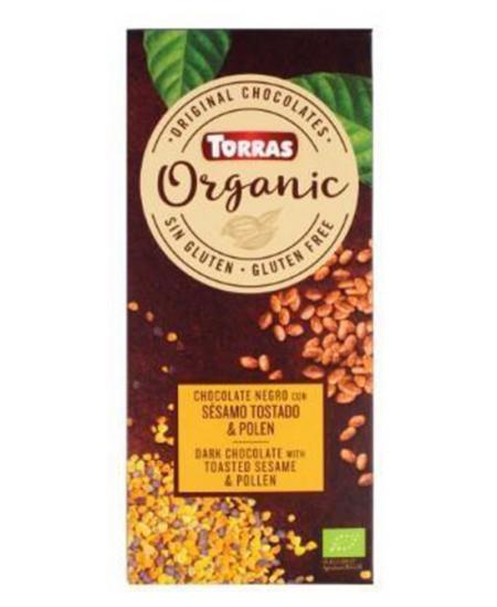 Ekologiškas šokoladas TORRAS su skrudintomis sezamų sėklomis ir žiedadulkėmis, 100 g