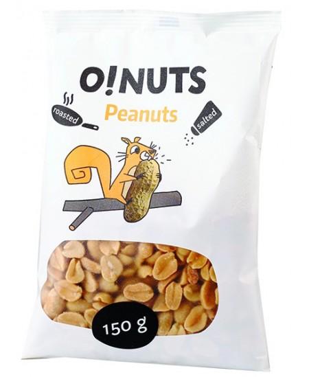 Kepinti ir sūdyti žemės riešutai O!NUTS, 150 g