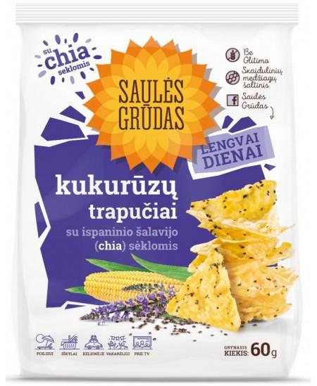 Kukurūzų trapučiai SAULĖS GRŪDAS su CHIA sėklomis, 60 g