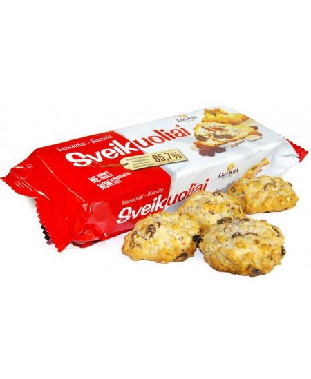Sausainiai DZŪKIJA Sveikuoliai, su žemės riešutais, razinomis ir saulėgrąžų sėklomis, 150 g