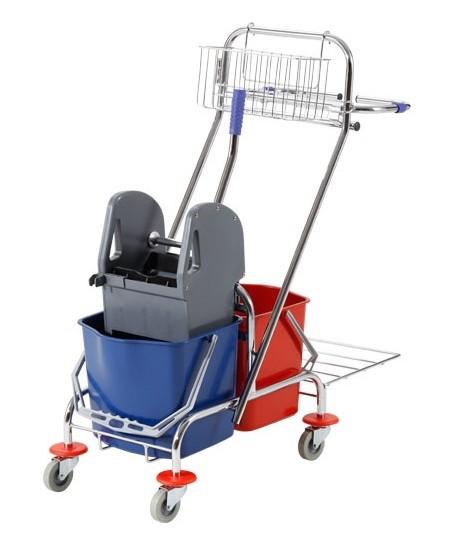Valymo vežimėlis BT087+, metalinis, su krepšeliu ir šiukšlių maišo laikikliu, du kibirai po 18 l