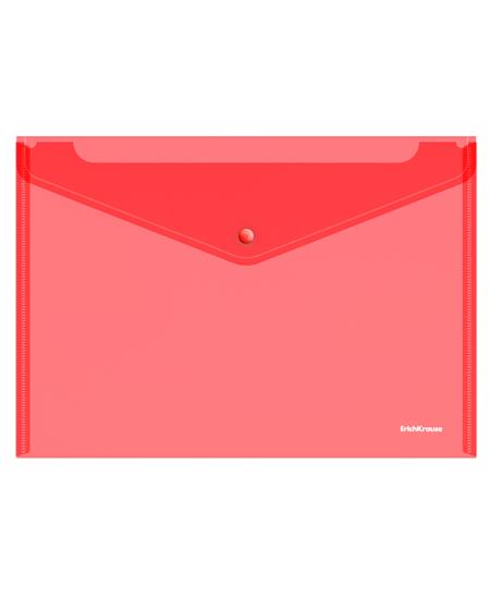 Dėklas - vokas su spaustuku  ErichKrause, A4, raudonas