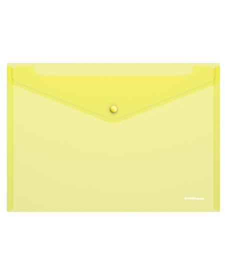 Dėklas - vokas su spaustuku  ErichKrause, A4, geltonas