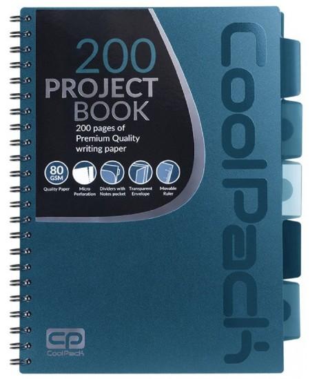 Sąsiuvinis su spirale COOLPACK, A4, 200 lapų, langeliais, mėlynas