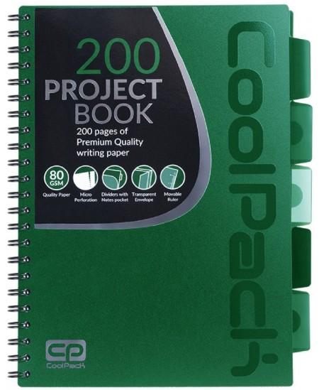 Sąsiuvinis su spirale COOLPACK, A4, 200 lapų, langeliais, žalias