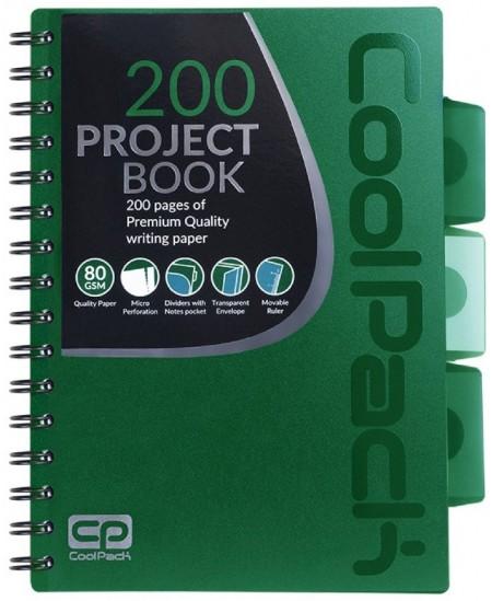 Sąsiuvinis su spirale COOLPACK, A5, 200 lapų, langeliais, žalias