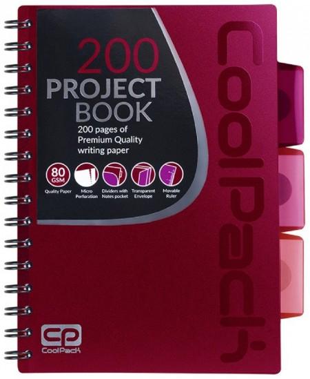 Sąsiuvinis su spirale COOLPACK, A5, 200 lapų, langeliais, raudonas