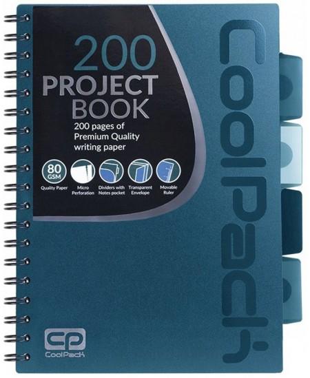Sąsiuvinis su spirale COOLPACK, B5, 200 lapų, langeliais, mėlynas