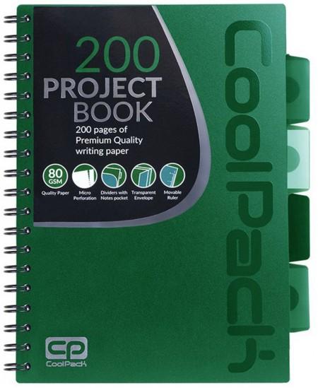 Sąsiuvinis su spirale COOLPACK, B5, 200 lapų, langeliais, žalias