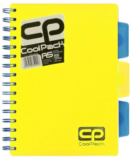 Sąsiuvinis su spirale COOLPACK, A5, 200 lapų, langeliais, geltonas