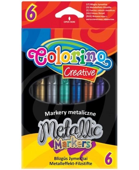 Blizgūs flomasteriai COLORINO Metallic, 6 spalvų