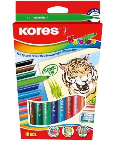 Flomasteriai KORES CONIC TIP, 10 spalvų