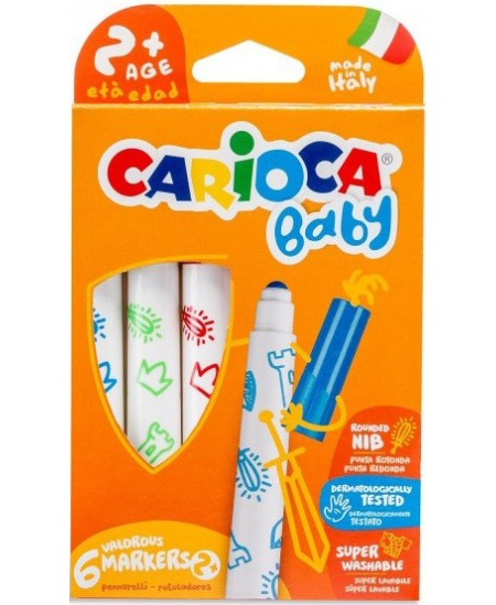 Flomasteriai mažyliams CARIOCA BABY SUPERWASHABLE, 6 spalvų