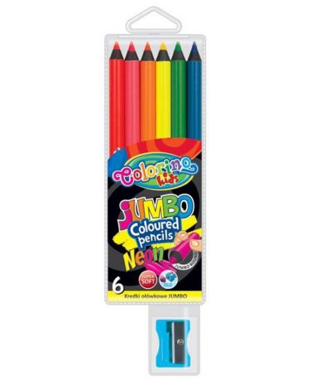 Spalvoti pieštukai COLORINO JUMBO NEON su drožtuku, 6 vnt.