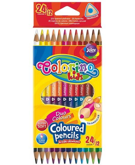 Spalvoti pieštukai dvipusiai, tribriauniai, COLORINO, 12 vnt., 24 spalvų.