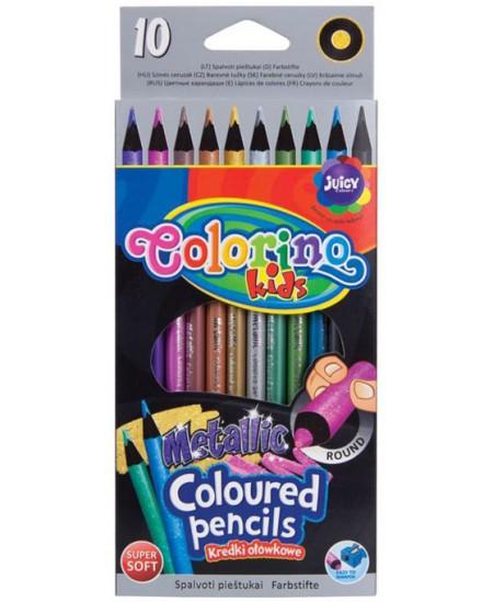 Spalvoti pieštukai COLORINO METTALIC, 10 spalvų