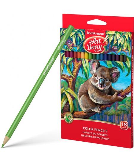 Spalvoti pieštukai ERICH KRAUSE Art Berry, tribriauniai, 18 spalvų