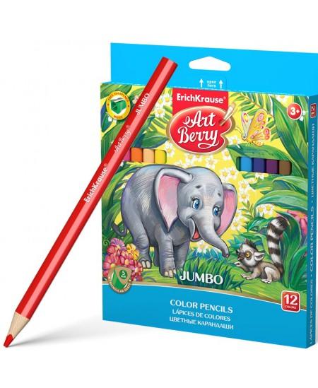 Spalvoti pieštukai ERICH KRAUSE Jumbo Art Berry, stori, su drožtuku, tribriauniai, 12 spalvų