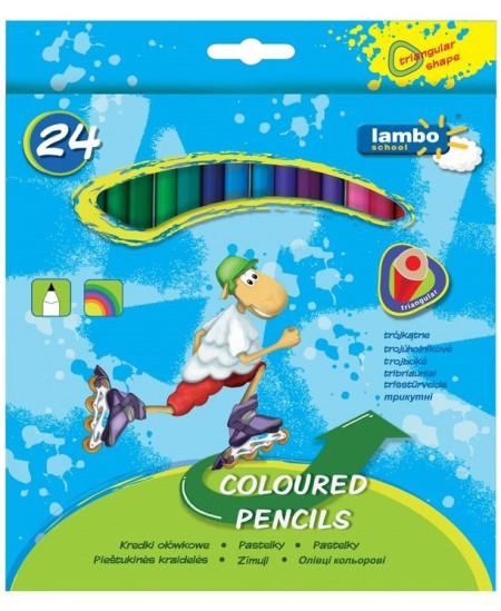 Spalvotų pieštukų rinkinys LAMBO, 24 spalvų