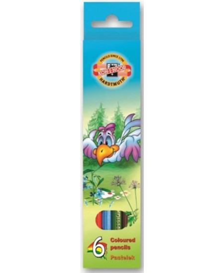 Spalvoti pieštukai KOH-I-NOOR Paukščiai, 6 spalvų