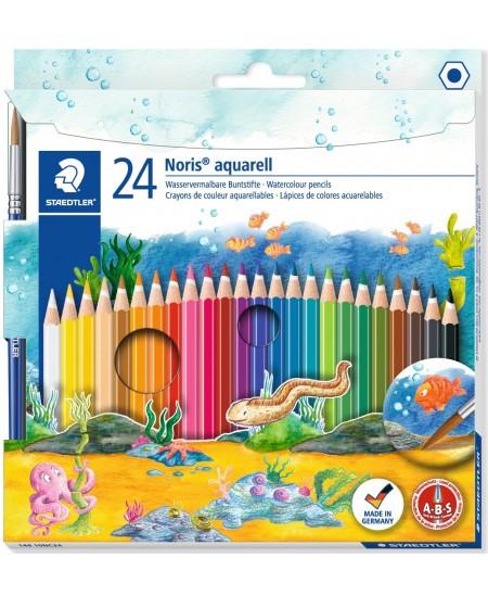 Spalvotų pieštukų rinkinys STAEDTLER NORIS CLUB aquarell 24 spalvos