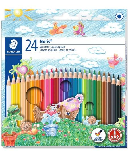 Spalvotų pieštukų rinkinys STAEDTLER NORIS CLUB, 24 spalvos