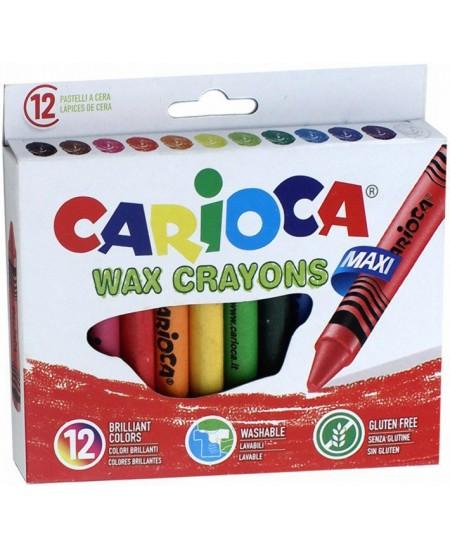 Vaškinės kreidelės CARIOCA Jumbo, 12 spalvų