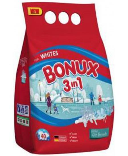 Skalbimo milteliai BONUX White, 40 skalbimų, 3 kg
