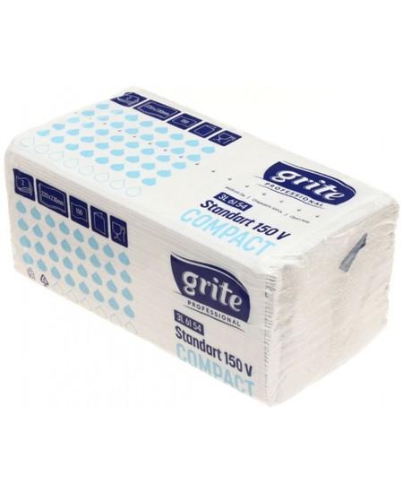 Lapiniai popieriniai rankšluosčiai GRITE Standart 150 V Compact, 1 pakelis