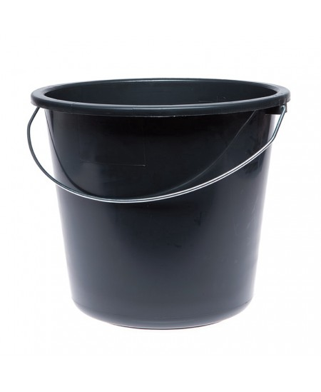 Kibiras su metaline rankena, apvalus, 14 L, juodas